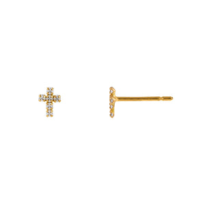 14K Gold Tiny CZ Cross Stud Earring 14K - Adina's Jewels