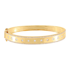 14K Gold Diamond Solitaire X Pavé Bangle 14K - Adina's Jewels