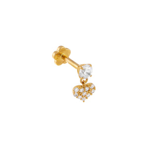 14K Gold / Single CZ Heart x Solitaire Threaded Stud Earring 14K - Adina's Jewels