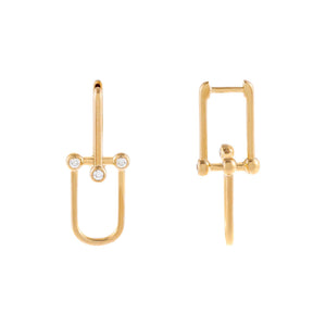 14K Gold Diamond Bezel U Chain Huggie Earring 14K - Adina's Jewels