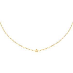 Gold / A Tiny Solid Uppercase Initial Choker - Adina's Jewels