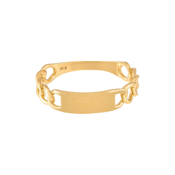 Engravable Cuban Chain Ring 14K - Adina's Jewels