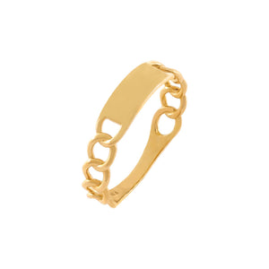 14K Gold / 6 Engravable Cuban Chain Ring 14K - Adina's Jewels