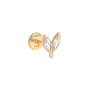 14K Gold / Single Tiny CZ Marquise Threaded Stud Earring 14K - Adina's Jewels