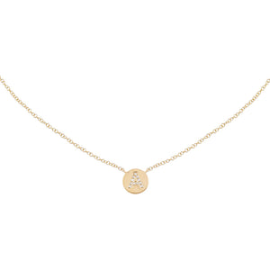 14K Gold Diamond Initial Disc Necklace 14K - Adina's Jewels