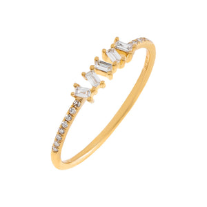 14K Gold / 7 Diamond Scattered Baguette Ring 14K - Adina's Jewels