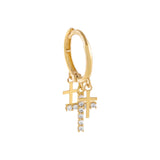 14K Gold CZ X Solid Multi Cross Hoop Earring 14K - Adina's Jewels