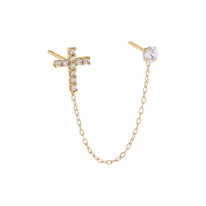 14K Gold / Single CZ Cross X Solitaire Chain Stud Earring 14K - Adina's Jewels