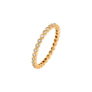 14K Gold / 7 Diamond Bezel Band 14K - Adina's Jewels