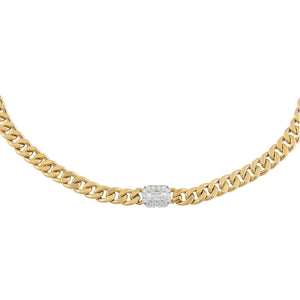 14K Gold Diamond Illusion X Miami Cuban Link Choker 14K - Adina's Jewels
