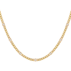 14K Gold Diamond Bezel Cuban Necklace 14K - Adina's Jewels