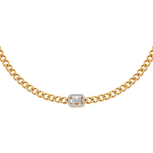14K Gold CZ Illusion Cuban Choker 14K - Adina's Jewels