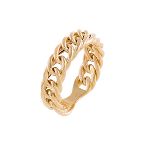 14K Gold / 7 Chunky Cuban Chain Ring 14K - Adina's Jewels