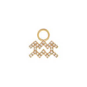 14K Gold / Aquarius Diamond Zodiac Earring Charm 14K - Adina's Jewels