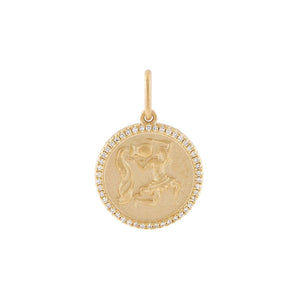 14K Gold / Aquarius Diamond Zodiac Coin Charm 14K - Adina's Jewels