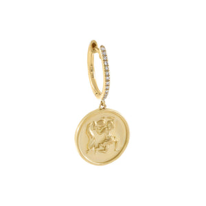 14K Gold / Single / Aquarius Diamond Zodiac Coin Huggie Earring 14K - Adina's Jewels