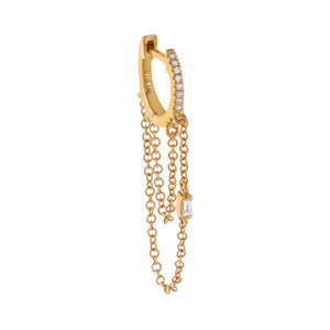 14K Gold / Single Diamond Baguette Double Chain Huggie Earring 14K - Adina's Jewels