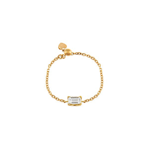 14K Gold Diamond Baguette Chain Ring 14K - Adina's Jewels