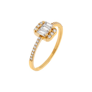 14K Gold / 8 CZ Baguette Thin Ring 14K - Adina's Jewels
