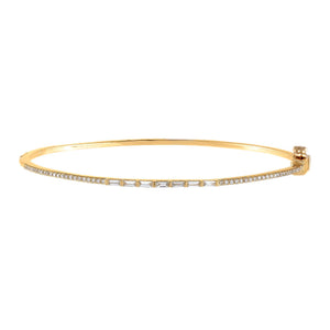 14K Gold Diamond Thin Baguette X Pavé Bangle 14K - Adina's Jewels