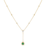 Emerald Green Diamond Emerald Teardrop X Bezel Lariat 14K - Adina's Jewels
