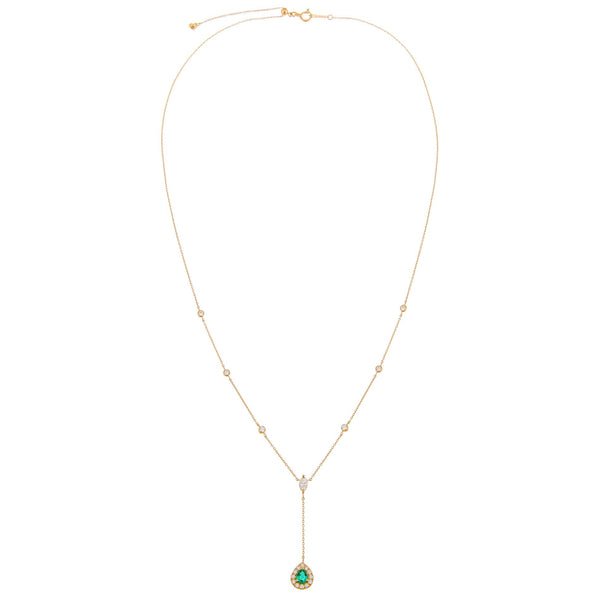Diamond Emerald Teardrop X Bezel Lariat 14K - Adina's Jewels