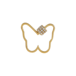 14K Gold Diamond Open Butterfly Toggle Charm 14K - Adina's Jewels