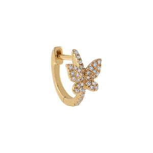 Diamond Butterfly Huggie Earring 14K - Adina's Jewels