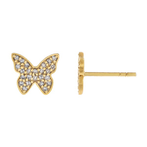 14K Gold / Pair Diamond Dainty Butterfly Stud Earring 14K - Adina's Jewels