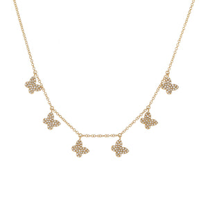 14K Gold Diamond Dangling Multi Butterfly Necklace 14K - Adina's Jewels
