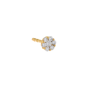 14K Gold Diamond Round Flower Stud Earring 14K - Adina's Jewels