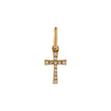 14K Gold / Single Diamond Cross Charm 14K - Adina's Jewels