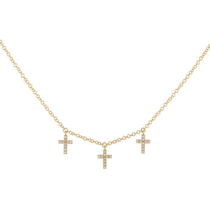 14K Gold Triple Diamond Cross Necklace 14K - Adina's Jewels