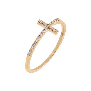 14K Gold / 7 Diamond Elongated Cross Ring 14K - Adina's Jewels
