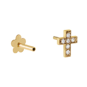 CZ Cross Threaded Stud Earring 14K