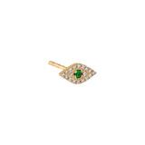 Emerald Green Diamond Emerald Green Evil Eye Stud Earring 14K - Adina's Jewels