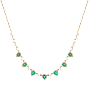 Emerald Green Diamond Emerald Green Teardrop Necklace 14K - Adina's Jewels