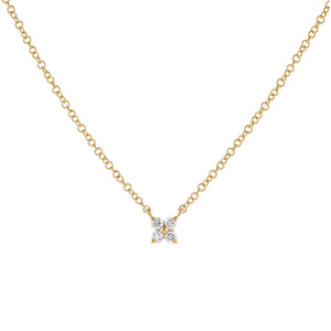14K Gold Diamond Itty Bitty Flower Necklace 14K - Adina's Jewels