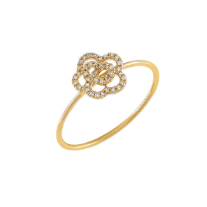 14K Gold / 6.5 Diamond Flower Ring 14K - Adina's Jewels