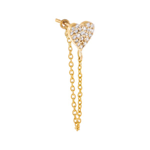 14K Gold / Single Pavé Diamond Heart Chain Stud Earring 14K - Adina's Jewels