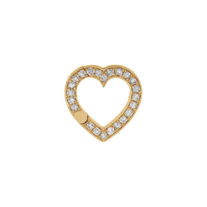 14K Gold Diamond Open Heart Charm 14K - Adina's Jewels