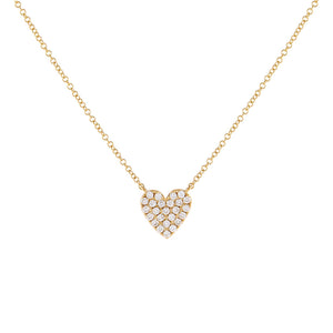 14K Gold Pavé Diamond Heart Necklace 14K - Adina's Jewels