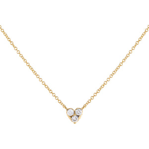 14K Gold Diamond Large Heart Cluster Necklace 14K - Adina's Jewels