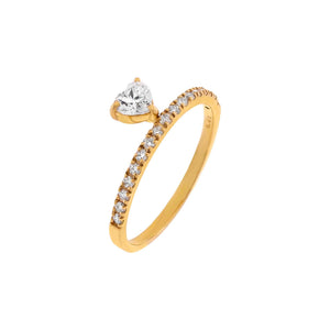 14K Gold / 6.5 Diamond Heart Dangle Ring 14K - Adina's Jewels