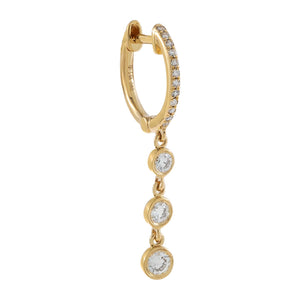14K Gold / Single Diamond Bezel Drop Huggie Earring 14K - Adina's Jewels