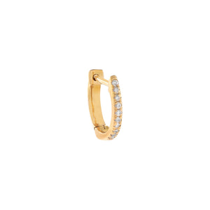 10 MM / Single / 14K Gold Diamond Huggie Earring 14K - Adina's Jewels