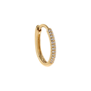14K Gold / Single Diamond Oval Huggie Earring 14K - Adina's Jewels