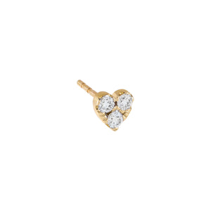 14K Gold / Single Diamond Large Heart Cluster Stud Earring 14K - Adina's Jewels