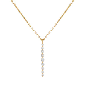 14K Gold Floating Diamond Drop Necklace 14K - Adina's Jewels