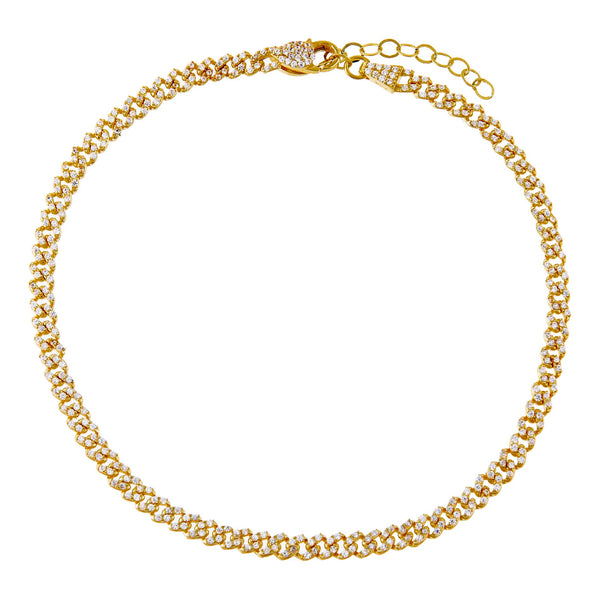 Gold Baby Pavé Cuban Link Anklet - Adina's Jewels